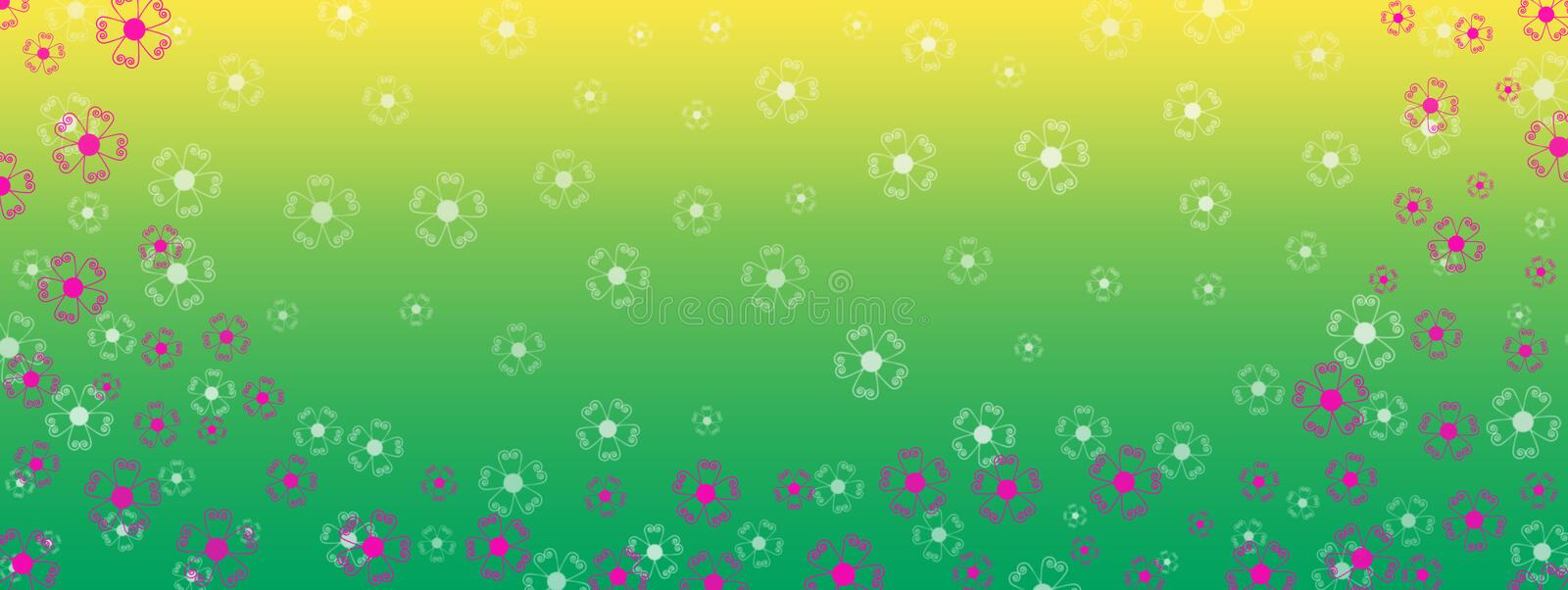 Pink Flowers Border in Green and Yellow Gradient Banner Background. Illustration of pink flowers border in green and yellow gradient background with white stock image