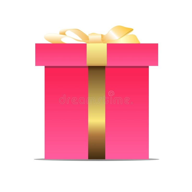 Illustration of a pink Gift box with bow and ribbon on a white background. This can be used for decorations, cards, or for anything you want. Vector file vector illustration