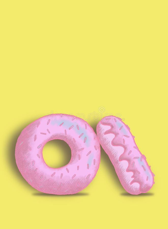 Illustration of pink pastel donuts on a yellow background royalty free stock photos