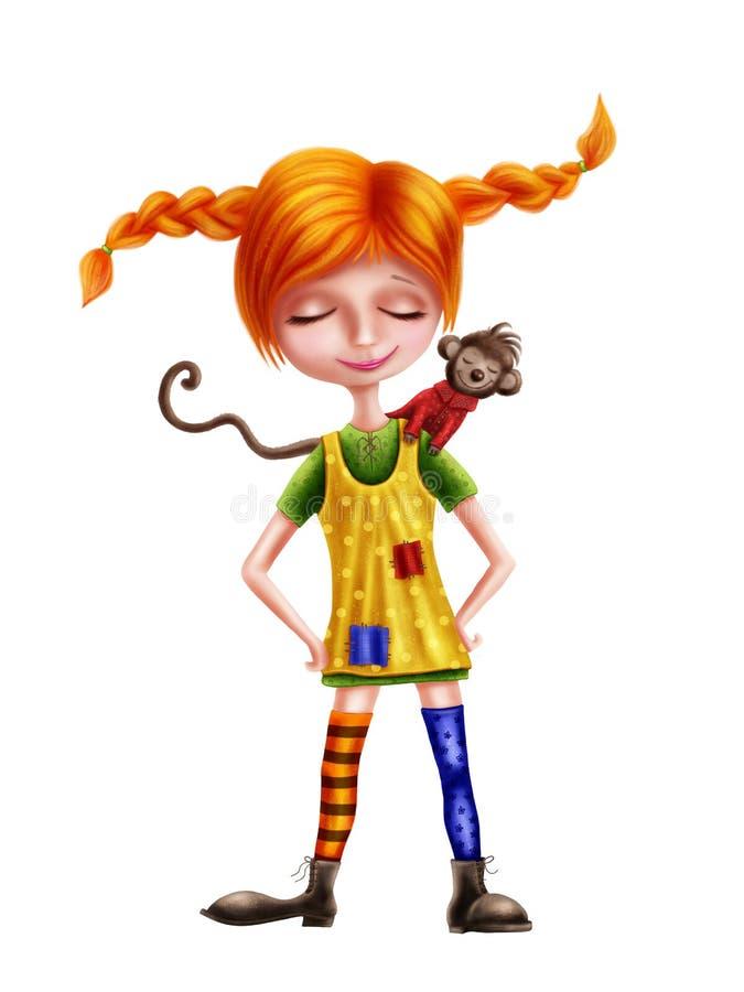 Download Pippi Longstocking And A Monkey Stock Illustration - Illustration of monkey, swedish: 107402868