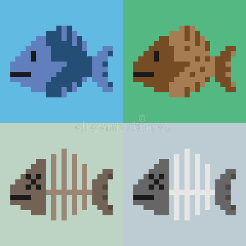 Illustration pixel art fish royalty free stock photography