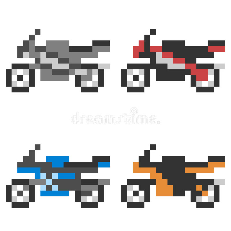 Illustration Pixel Art Icon Motorcycle Stock Vector