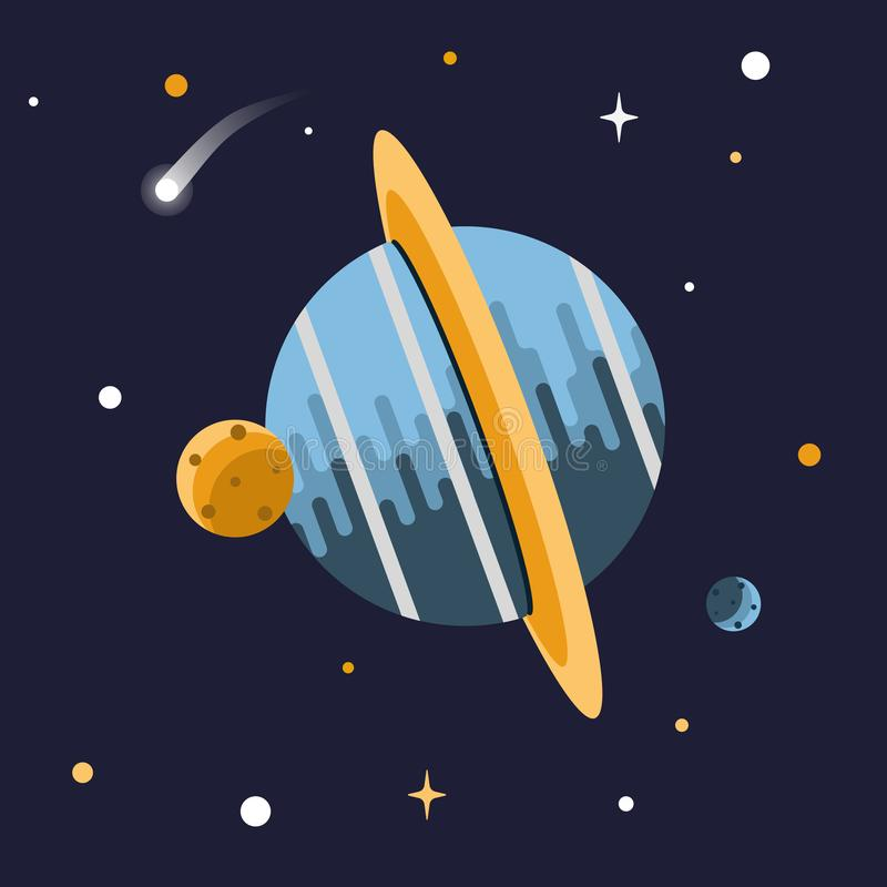 Illustration of a planet and moons in space with shining stars stock illustration