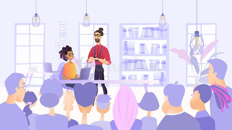 Illustration Planned Meeting Employees Company 皇族释放例证