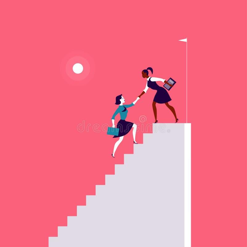 Illustration plate avec des dames d'affaires s'élevant sur les escaliers blancs ensemble sur le fond rouge illustration de vecteur