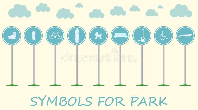 Illustration plate avec des signes pour des loisirs actifs en parc illustration libre de droits