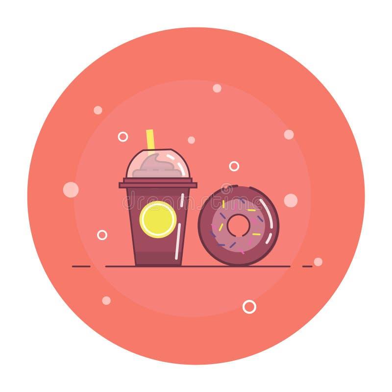 Illustration plate avec le milk-shake et le beignet illustration stock