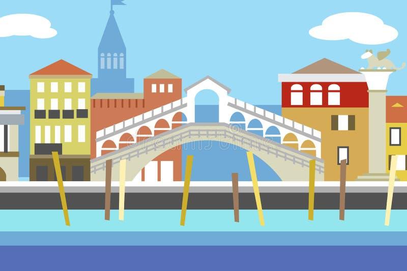 Illustration plate colorée de vecteur de style de ville de Venise Paysage urbain avec le remblai et les bâtiments Composition pou illustration libre de droits