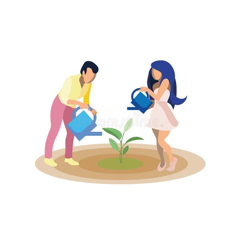 Illustration plate croissante de vecteur d'usine de couples illustration stock