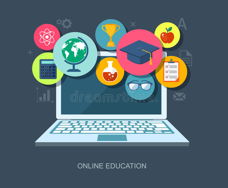 Illustration plate d'éducation en ligne illustration de vecteur