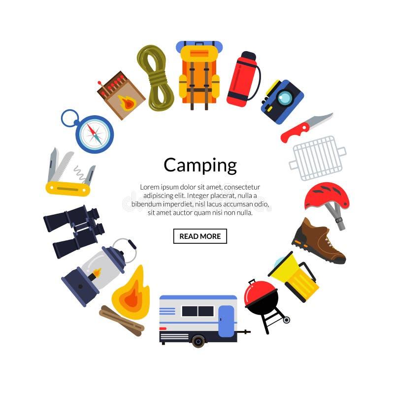 Illustration plate d'éléments de camping de style de vecteur illustration de vecteur