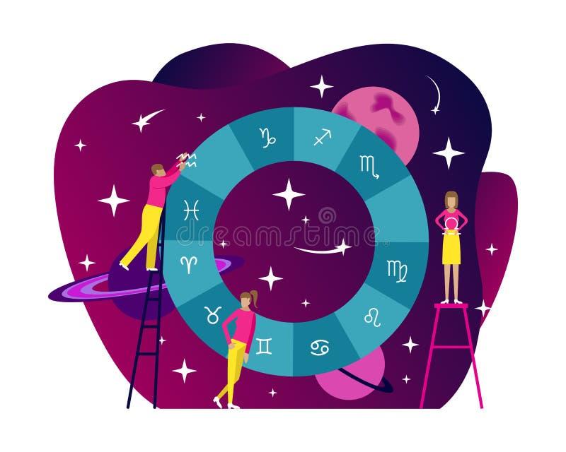 Illustration plate d'astrologie de petites personnes Diagramme natal avec le fond de gradient horoscope illustration libre de droits