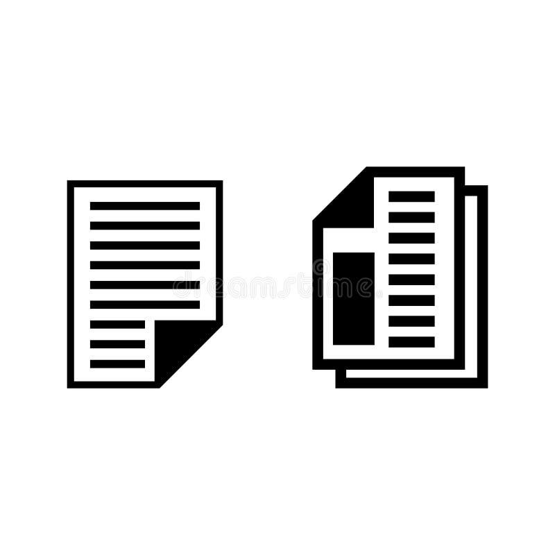 illustration plate d'icônes de papier d'affaires illustration libre de droits