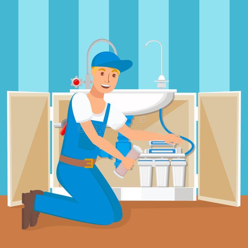 Illustration plate d'Installing Water Filter de plombier illustration libre de droits