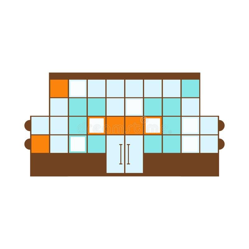 Illustration plate d'isolement par calibre extérieur moderne laid de projet de conception de bâtiment de centre commercial illustration libre de droits