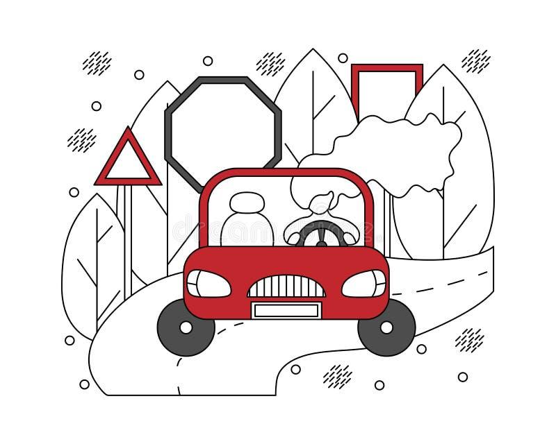 Illustration plate dans les lignes avec la fille dans une voiture Concep des véhicules à moteur illustration libre de droits