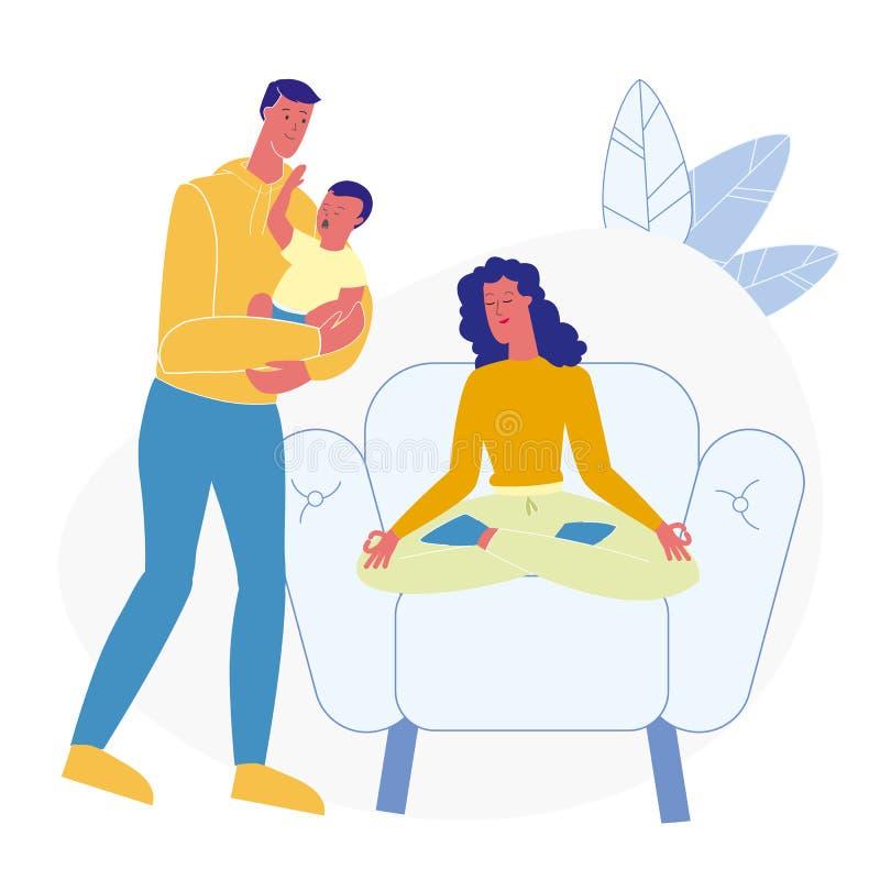 Illustration plate de aide de vecteur d'épouse de mari illustration stock