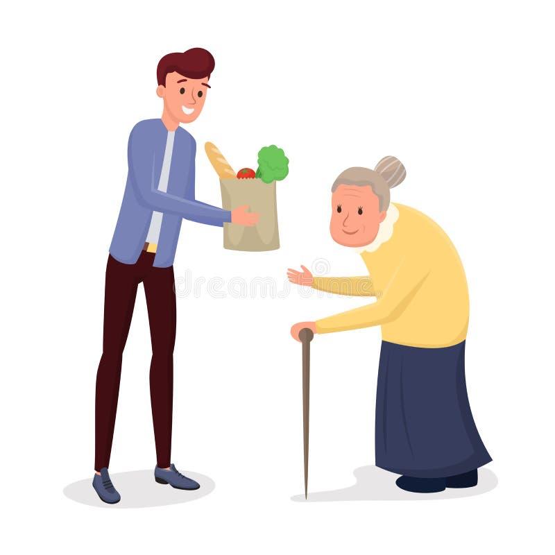 Illustration plate de aide de vecteur des personnes âgées illustration de vecteur