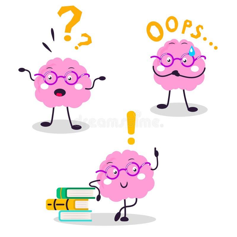 Illustration plate de bande dessinée de caractère d'amusement de vecteur de cerveau illustration libre de droits