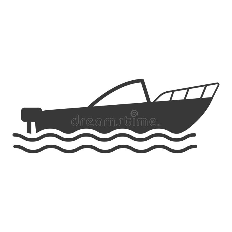 Illustration plate de bande dessinée de style de vecteur d'icône de bateau illustration de vecteur