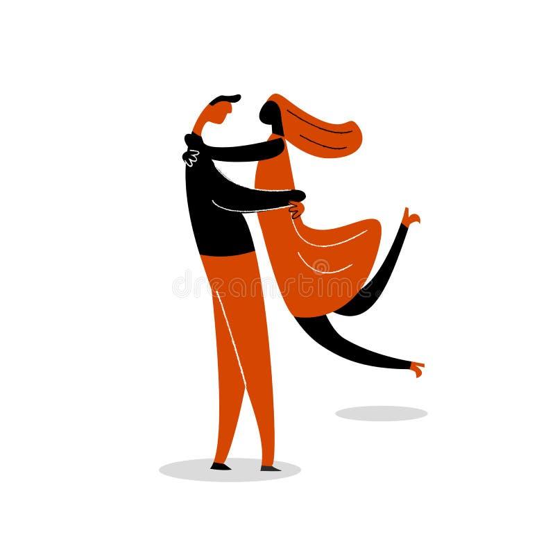 Illustration plate de bande dessinée de vecteur d'étreindre des couples d'isolement sur le fond blanc illustration de vecteur