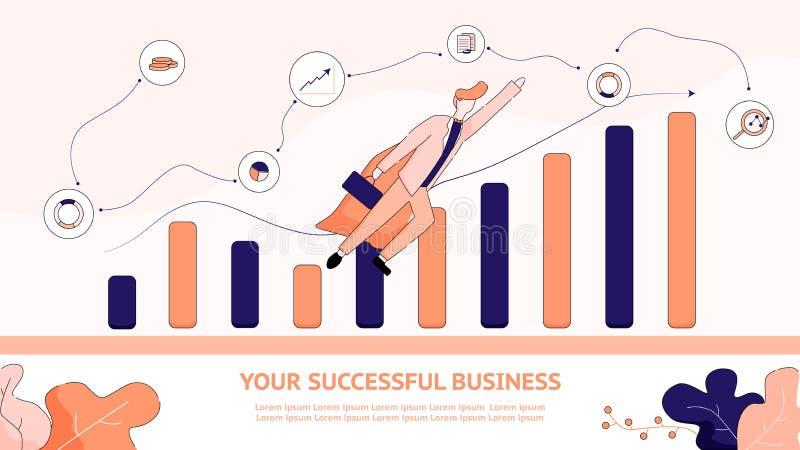 Illustration plate de bannière vos affaires réussies illustration libre de droits