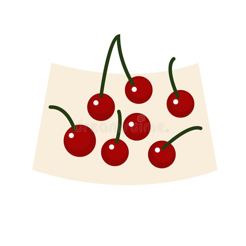 Illustration plate de cerises illustration libre de droits