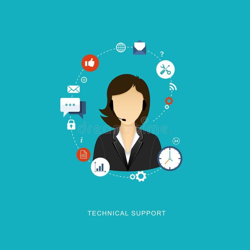 Illustration plate de conception avec des icônes Assistant de support technique illustration de vecteur