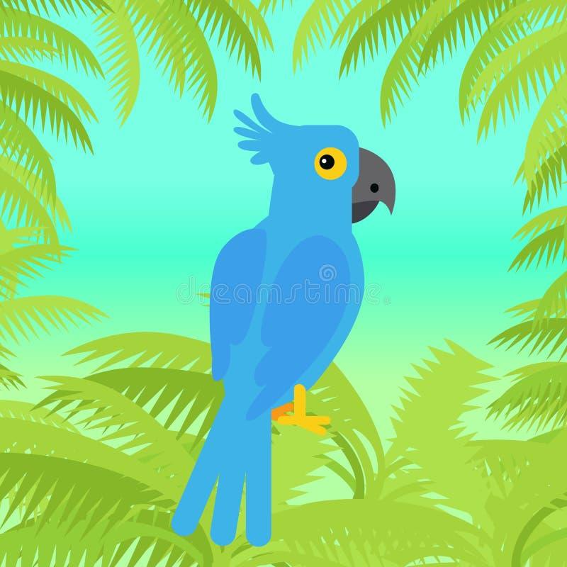 Illustration plate de conception d'ara de vecteur bleu de perroquet illustration libre de droits