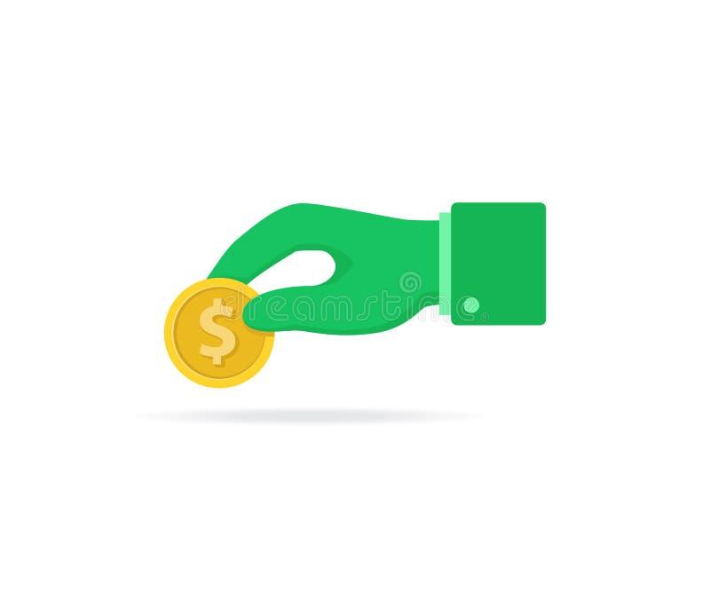 illustration plate de conception d'une main donnant l'argent ou la pièce de monnaie, une illustration de donation, une générosité illustration stock