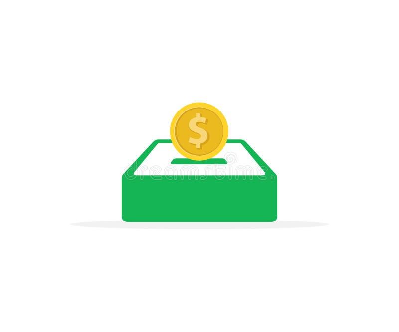 illustration plate de conception d'une pièce de monnaie avec la boîte de donation, une illustration de donation illustration de vecteur