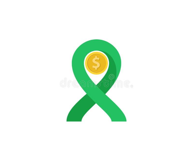 illustration plate de conception d'une pièce de monnaie avec le symbole de ruban de la solidarité, la donation d'argent dans l'hu illustration libre de droits