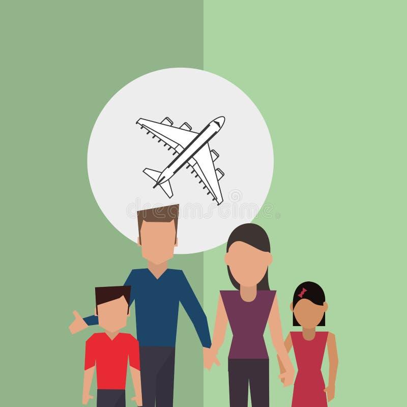 Illustration plate de conception de famille, icône de personnes illustration libre de droits