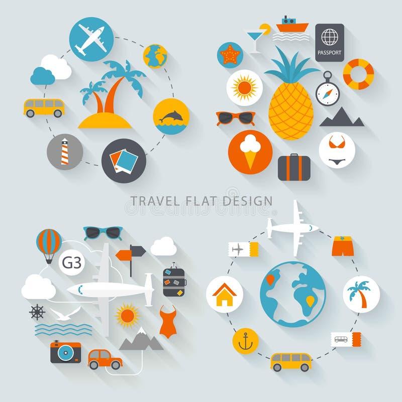 Illustration plate de conception de voyage illustration stock