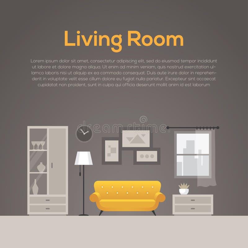 Illustration plate de conception intérieure de salon illustration stock