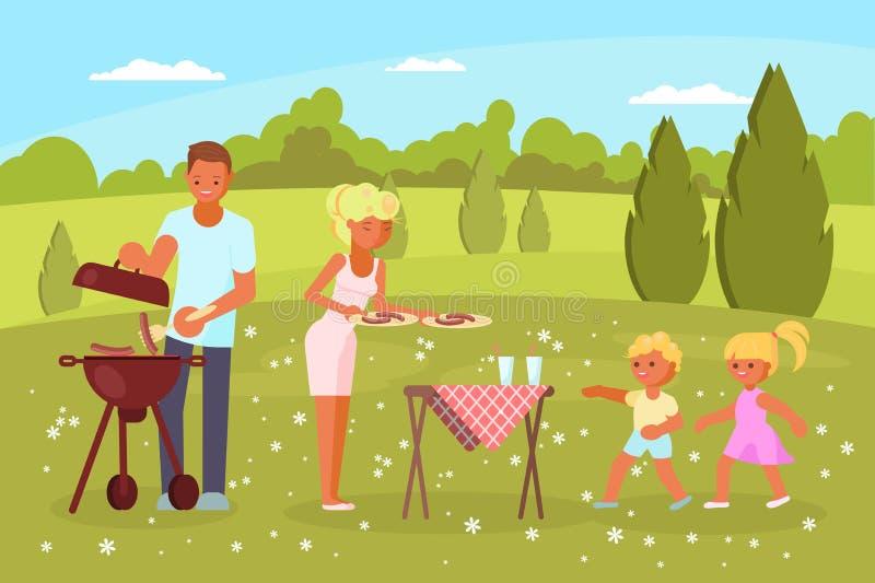 Illustration plate de conception de style de vecteur de BBQ de famille illustration libre de droits