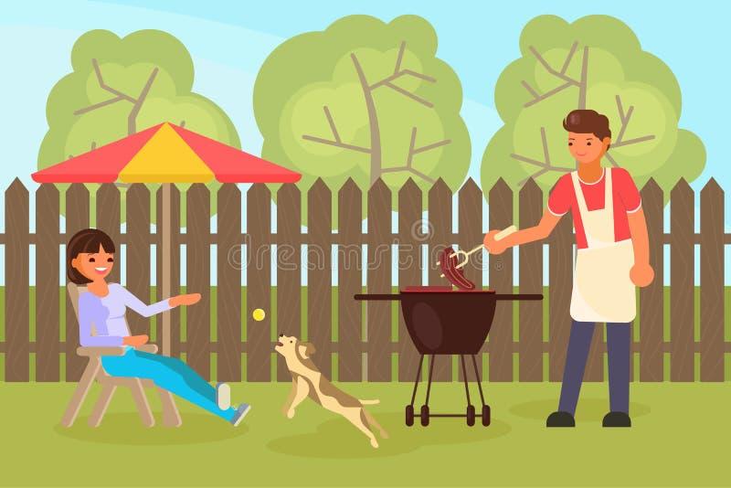 Illustration plate de conception de style de vecteur de BBQ de famille illustration de vecteur