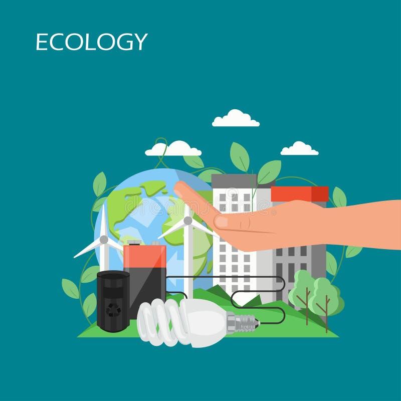 Illustration plate de conception de style de vecteur de concept d'écologie illustration libre de droits