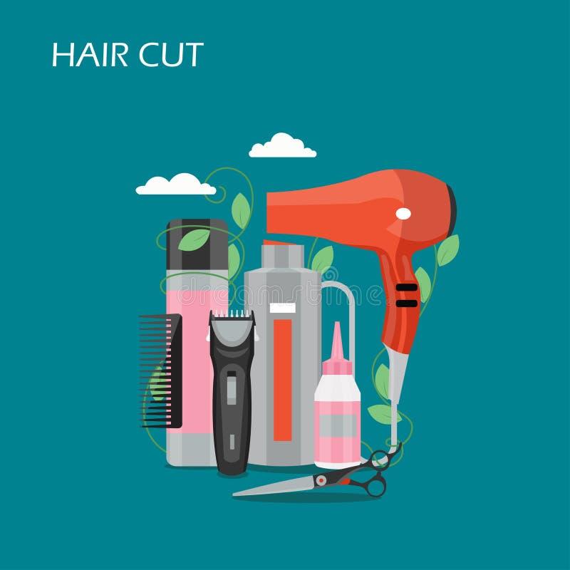 Illustration plate de conception de style de vecteur de coupe de cheveux illustration stock