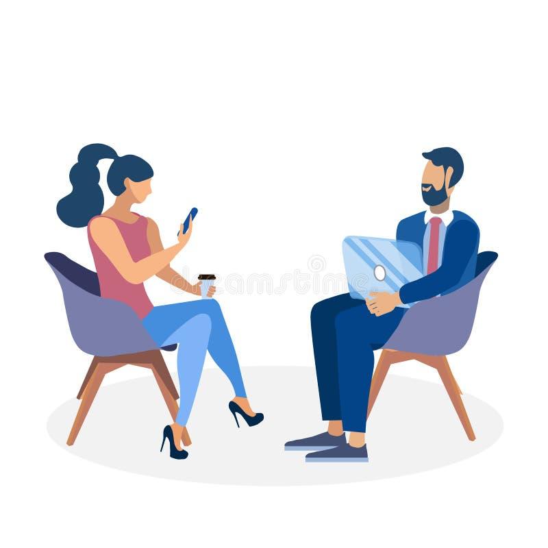Illustration plate de conversation d'affaires de collègue illustration stock