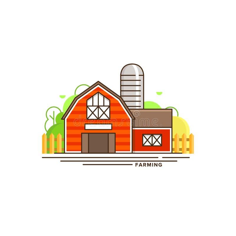Illustration plate de ferme de vecteur rouge de bâtiment d'isolement sur le fond blanc Eco cultivant l'icône, concept plat de vec illustration de vecteur