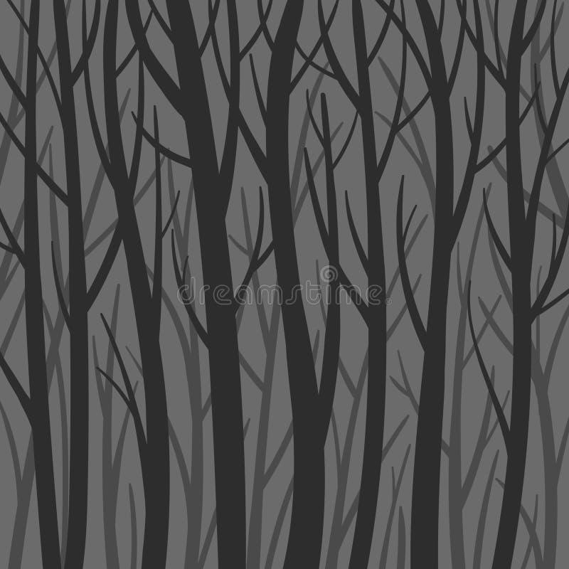 Illustration plate de fond de vecteur mystique foncé de forêt Silhouette d'arbres Forêt rampante illustration libre de droits