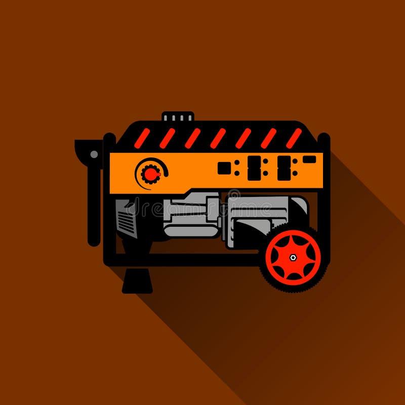 Illustration plate de générateur d'essence illustration de vecteur