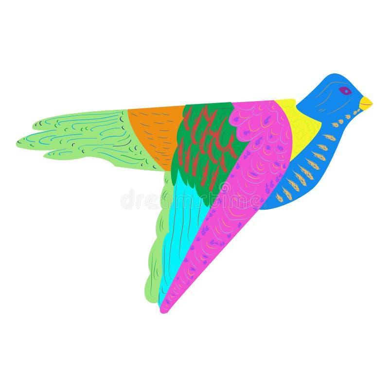 Illustration plate de jouet traditionnel indien coloré de détail d'oiseau illustration libre de droits
