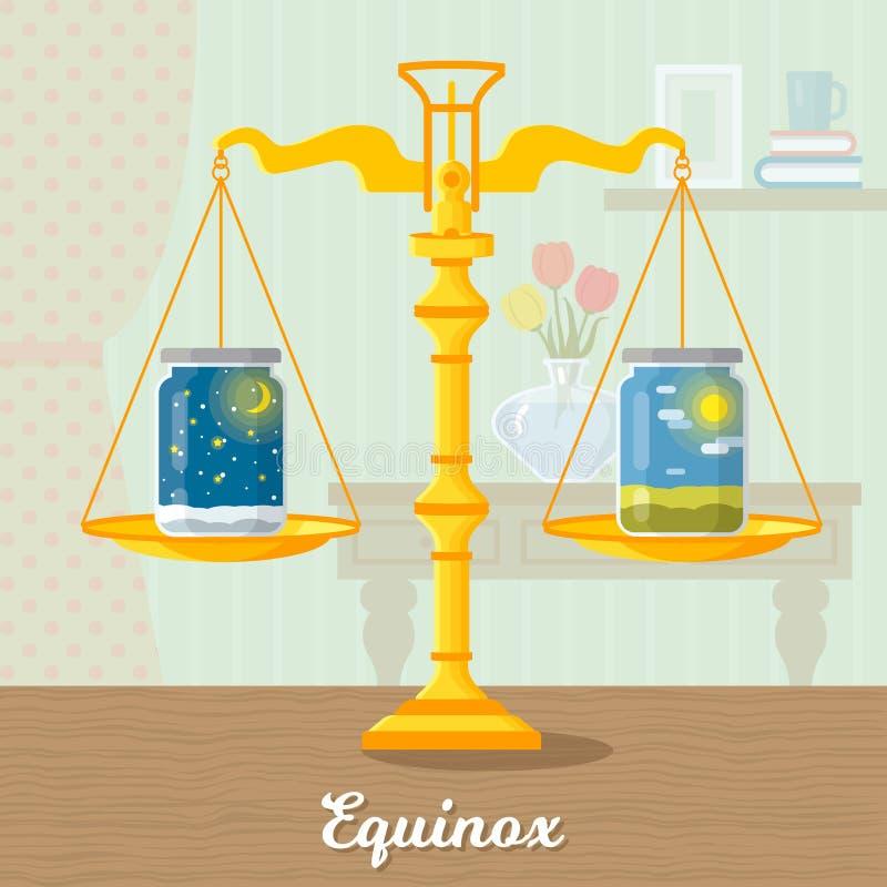 Illustration plate de l'équinoxe vernal illustration de vecteur