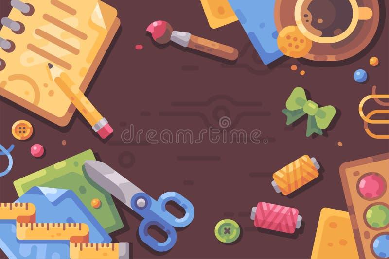 Illustration plate de lieu de travail créatif Bureau malpropre rempli d'approvisionnements d'art illustration stock