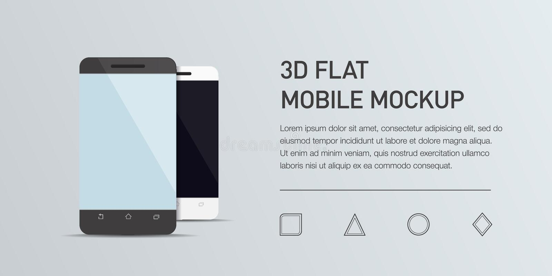 Illustration plate de Minimalistic de téléphone portable Smartphone générique de maquette illustration libre de droits