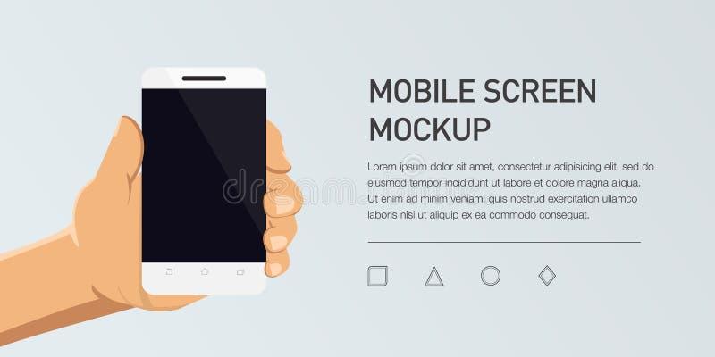 Illustration plate de Minimalistic de téléphone portable Smartphone générique de maquette illustration de vecteur