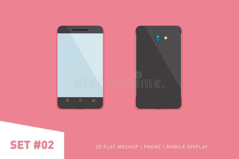Illustration plate de Minimalistic de téléphone portable Vue de point de vue Smartphone générique de maquette Calibre pour l'info illustration de vecteur