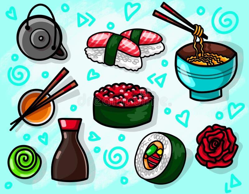 Illustration plate de nourriture avec l'algue traditionnelle les casse-croûte, le thé, les nouilles et des petits pains de sushi  illustration de vecteur